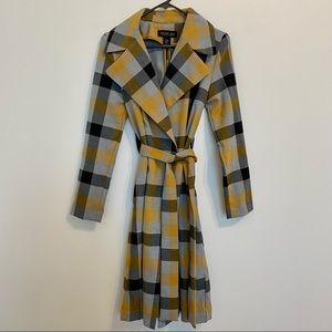Rachel Zoe Yellow Black Gray Plaid Trench Coat